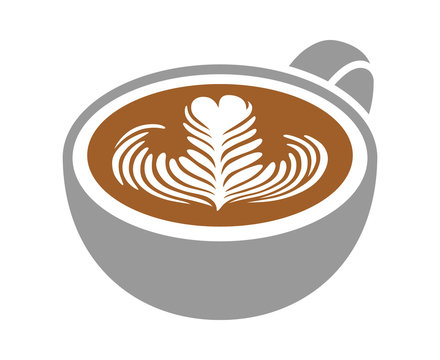 Cup of latte / espresso art with rosette leaf flat color vector icon for coffee apps and websites