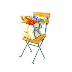 椅子の上におかれたショッピングバッグ