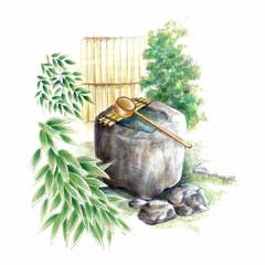 手水鉢・日本の庭