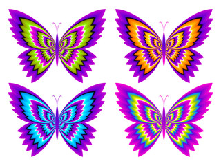 Colorful butterflies. Optical expansion illusion.
