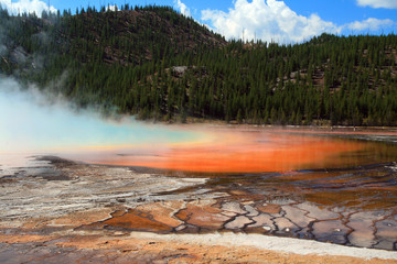 The Grand Prismatic Spring in the Midway Geyser Basin in Yellowstone National Park in Wyoming U S A