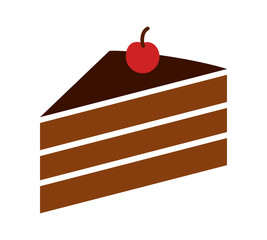 Sliced of layer dessert cake with cherry on top flat color vector icon for food apps and websites