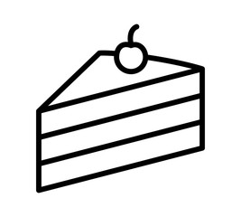 Sliced of layer dessert cake with cherry on top line art vector icon for food apps and websites