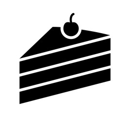 Sliced of layer dessert cake with cherry on top flat vector icon for food apps and websites