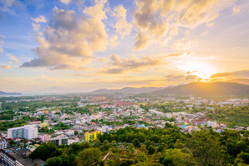 Khao Rang Viewpoint of Phuket city, Phuket province Thailand