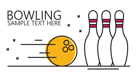 Vector linear style illustration bowling ball and pins.