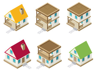 Private house real estate decorative icons set 3d isometric