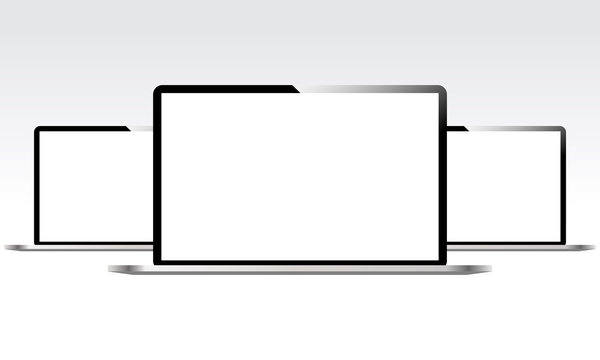 Three laptops with blank white screens isolated. Mockup laptop. Mockup for design and infographic. Vector illustration.