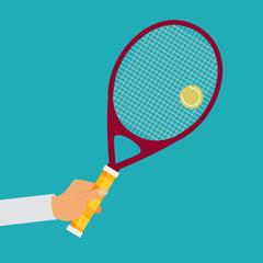 Tennis player racket hit the ball