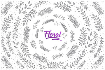 Hand drawn floral set pattern background with purple lettering in vector