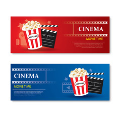 Movie time banner and coupon.Cinema template card element design