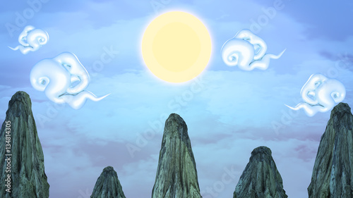 3d rendering picture of Chinese landscape  Yellow sun, curly