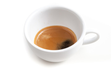 Wall Mural - Espresso shot in the coffee cup on white background isolated wit