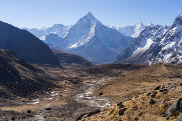 Ama Dablam mountain peak in a morning, Everest region, Nepal