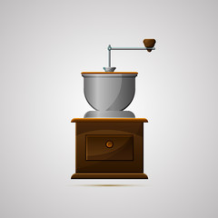 Векторная иллюстрация иконка простой символ плоский для веб coffee mill ручная кофемолка