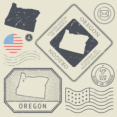 Retro vintage postage stamps set Oregon, United States