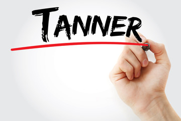 Hand writing Tanner with marker, concept background