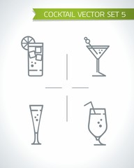 Alcohol cocktails and drink icon vector set