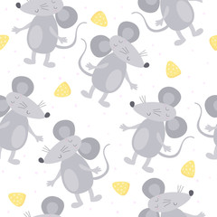 Cute hand drawn doodle mouse seamless pattern