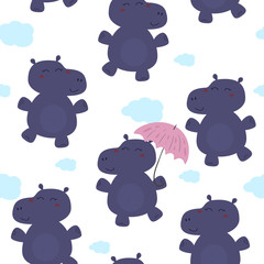 Cute hippo with an umbrella in cartoon style. pattern.