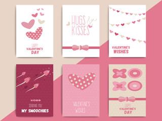 Happy valentine day postcard template set design. Love holiday p