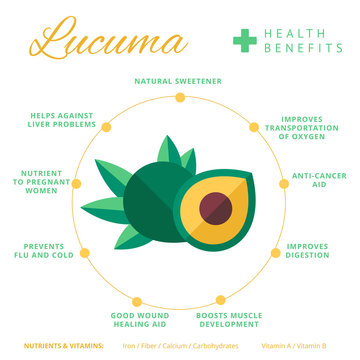 Lucuma fruit health benefits and nutrition infographics. Superfo