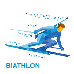 Winter sports - Biathlon. Cartoon biathlete going skiing fast with a rifle behind his back. Flat style vector clip art isolated on white background