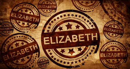 elizabeth, vintage stamp on paper background