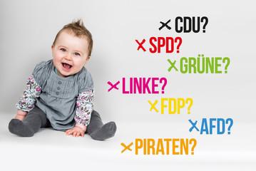Baby mit verschiedenen Parteien für Bundestagswahl Deutschland