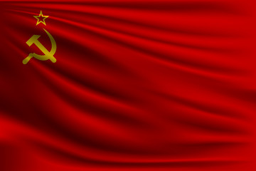 The national flag of the USSR. The symbol of the state on wavy silk fabric. Realistic vector illustration.