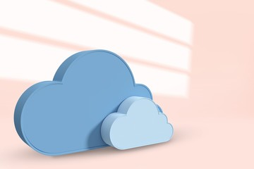 Composite image of cloud shapes against white background  3d