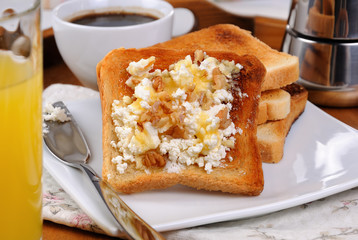 Toast with ricotta at breakfast