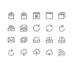 Set of Web Related Vector Line Icons. Contains such Icons as Input, Output, Download, Upload ,Mail,Arrows and more. Fully Editable. Neatly Done.