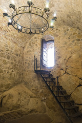 wooden stairs, Interior of the medieval castle of the city of Co