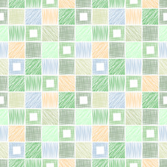 Seamless vector geometrical pattern with squares. background with hand drawn textured geometric figures. Graphic illustration Template for wrapping, web backgrounds, wallpaper, print, surface