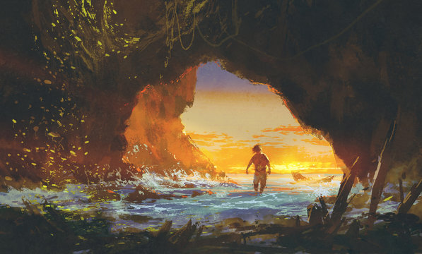 the man walking in the sea cave at sunset,illustration painting