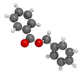 Benzyl benzoate drug molecule, 3D rendering.