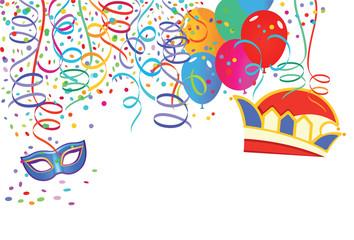 Karneval Szene mit Luftballons und Luftschlangen