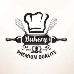 bakery stylized vector emblem or label in retro style, logo temp