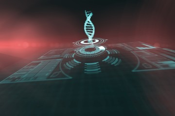 Composite image of illuminated volume knob with dna strand 3d