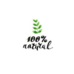 100% natural. Modern brush calligraphy. Handwritten ink lettering.