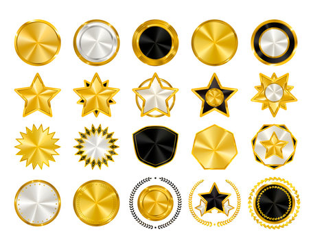 Gold, Black and White Crest logo elements, golden shields, stars and circles collection, award laurel wreaths, badges set. Vector illustration.