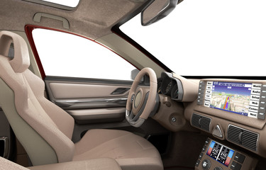 dashboard of modern brand new car with windows 3d render