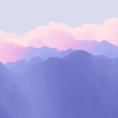 Mountain Landscape. Mountainous Terrain. Abstract Background.