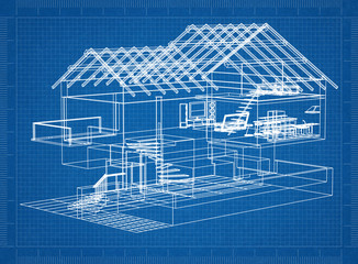 architectural blueprint of a house