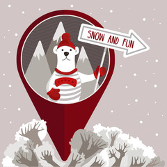 "Vector illustration of a polar bear holding a signpost with the text ""Snow and fun"" in a circle and symbol geotag. Winter forest, mountains, snow, arrow."