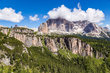 Wall Mural - View of Tofane, a mountain group in the Dolomites of northern Italy, west of Cortina d'Ampezzo in the province of Belluno, Veneto.