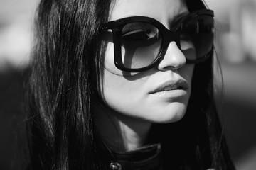 Beautiful and Fashionable woman black and white photo