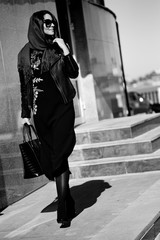 Beautiful and Fashionable woman black and white photo