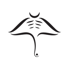 Manta ray abstract strokes composition on white background